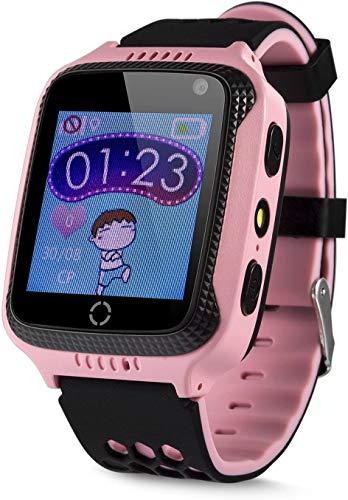 JBC GPS Uhr Kinder Telefon GPS Schulmodus SOS Notruf Smartwatch Kinder Kinderuhr ohne Abhörfunktion/mit sicherem Deutschen Server SOS App (Pink)
