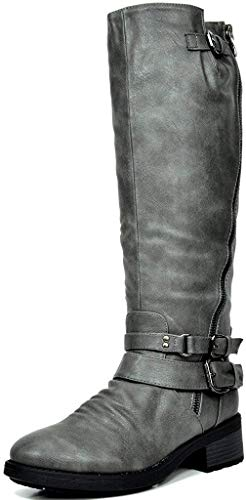 DREAM PAIRS Women's Atlanta Grey Fur Lined Knee High Riding Boots Size 8 M US