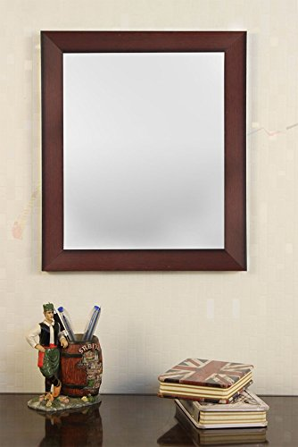 Art Street Brown Flat Decorative Wall Mirror/Make up/Looking Glass Inner Size 10 x 12 inch, Outer Size 12 x 14 inch