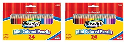 RoseArt 3.5-Inch Mini Colored Pencils Assorted Colors 24-Count Packaging May Vary (1026VA-48) (1, Тwo Рack)