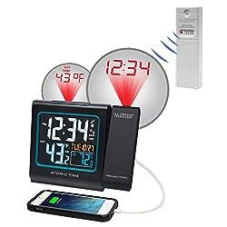 BananaBus 616-146 Atomic Projection Alarm Clock with USB Port TX141