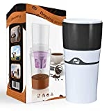 Drip Coffee Makers with Reuasble K Cups Coffee Pods Portable Thermal Drip Instant Single Serve Coffee Brewer for Backpacking, Office, Household (Grey)