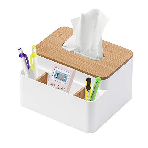Xnuoyo Tissue Box Holder, Desktop Aufbewahrungsbox, Facial Tissue Holder Dispenser Bambus Abnehmbarer Desktop Organizer für Badezimmer Waschtisch Arbeitszimmer Wohnzimmer Küche