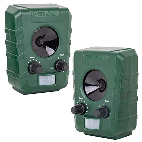 VOSS.sonic 1200 Doppelpack 2X Ultraschallvertreiber Tiervertreiber Ultraschallabwehr Tierabwehr Vertreibung durch Ultraschall inkl. Aufstellpfahl
