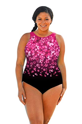 Aquamore Chlorine Resistant Pink Flower Rain Plus Size High Neck One Piece Swimsuit Size 16W