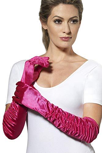 Smiffys - Long Temptress Gloves - Damenhandschuhe gerafft - ca. 46 cm lang - fuchsia