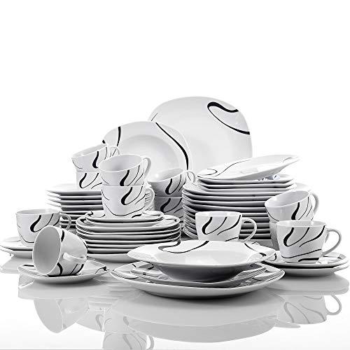 VEWEET Porzellan Tafelservice, 60-teilig Geschirr Set für 12 Personen, Serie 'Kayla'