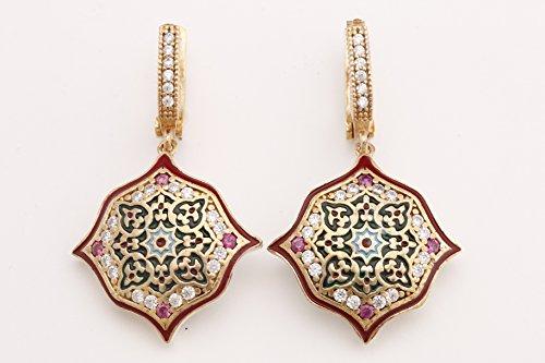 Motif Style Turkish Handmade All Authentic Jewelry Red Enamel Round Cut Ruby Topaz 925 Sterling Silver Dangle/Drop Earrings
