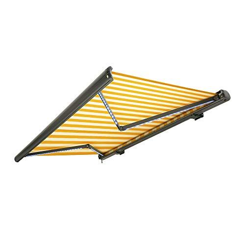 Nemaxx Kassettenmarkise elektrisch Vollkassettenmarkise mit LED, Markise gelb-weiß, Kassette anthrazit, Funk Fernbedienung, wasserdicht 300x250 cm (3x2,5m)