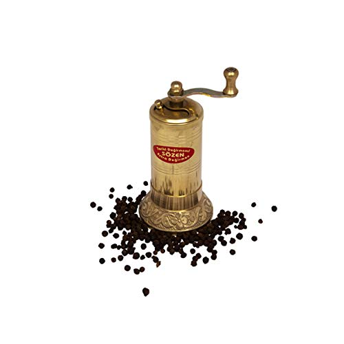 "4.7"" Handmade Manual Brass Pepper Mill Grinder Sozen, Portable Conical Burr Pepper Mill, Portable Hand Crank Turkish Pepper Grinder"