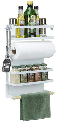 Sorbus Magnetic Spice Rack Organiser for Refrigerator, 4-Tier Magnetic Storage Shelf with Paper Towel Holders and 5 Hooks, Multi-purpose, (Large, White)