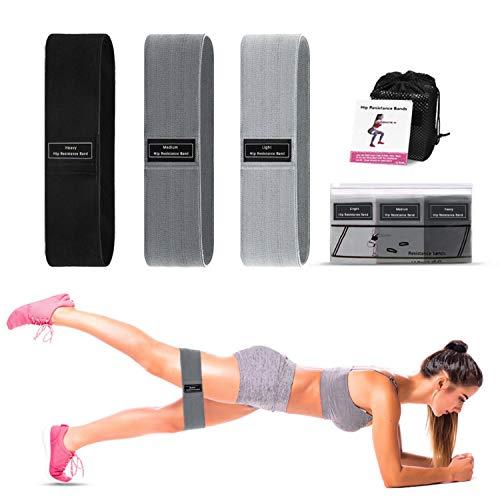 Bandas Elásticas Fitness, Bandas de Resistencia Set de 5 Cintas Elásticas Fitness Musculación de Látex Natural Agradable a la Piel con Guía de Ejercicios y Bolsa Almacenamiento, Gris - Negro