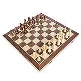 Juego de ajedrez de madera plegable clásico, tablero plegable portátil, piezas de ajedrez de madera, juego de ajedrez, juego de juguete educativo ligero para niños y adultos, 16 x 16 pulgadas