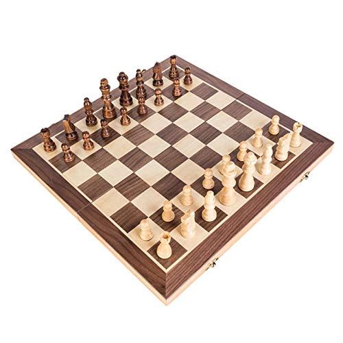 Schachspiel Aus Holz | Schachspiel Schachbrett Magnetisch | Faltschachset Mit Schachkassette Komplettes Schachfiguren Set | Pädagogische Speil Für Kinder & Erwachsene