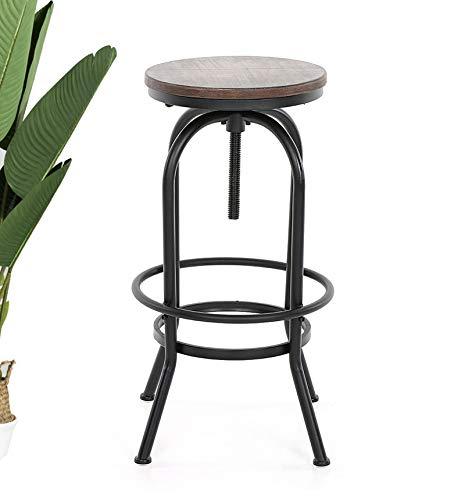 KOSMI - Taburete de bar en metal negro mate y asiento en madera oscura, taburete de tornillo para altura ajustable, altura ajustable de 65 a 85 cm
