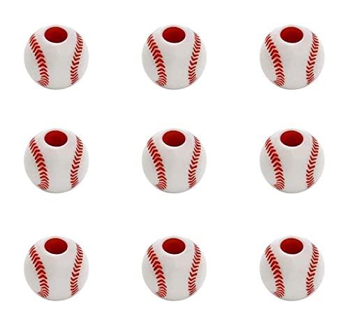 LIXBD 50 abalorios de acrílico chapado en forma de béisbol, abalorios, pulseras, colgantes, collar y accesorios para hacer joyas de manualidades (color: blanco, tamaño: S)