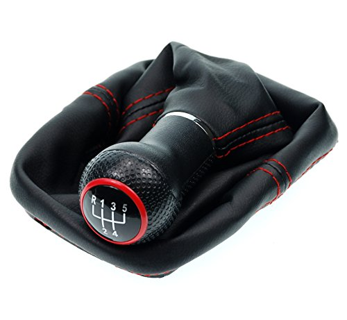 L & P Car Design L&P A252-1 Schaltsack Schaltmanschette in Schwarz Naht Rot Schaltknauf 5 Gang 23mm kompatibel mit VW Golf 4 IV Rahmen Knauf Plug Play Ersatzteil für 1J0711113