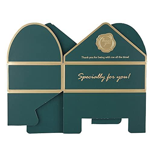 Bediffer Caja de dulces compacta y fácil de llevar con apertura convexa, forma de sobre, suministros de boda de Pascua, Halloween, adecuado para fiesta de cumpleaños (verde bosque)