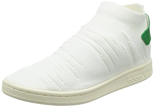 adidas Originals Damen Stan Smith Sock Primeknit Sneaker, Weiß (Footwear White/Footwear White/Green), 38 EU