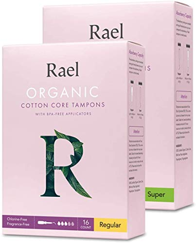 Rael Organic Cotton Unscented Tampons  Regular amp Super Size BPA Free Plastic Applicator Chlorine Free Ultra Thin Applicator with Leak Locker Technology 32 Count Bundle