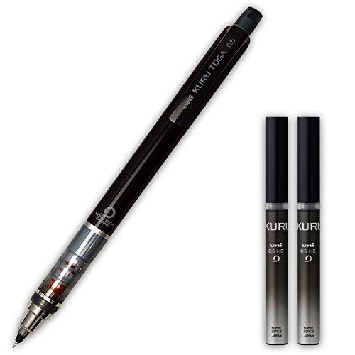 Mitsubishi Uni kurutoga standard model 0.5mm Black mechanical pencil with HB 0.5mm pencil leads 2 pack set