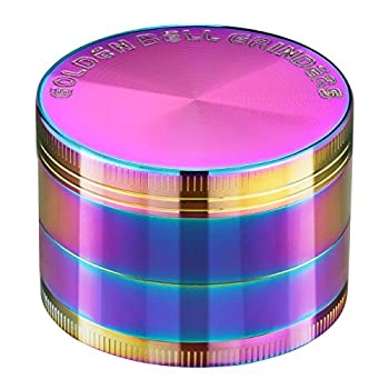 Golden Bell 4 Piece Spice Herb Grinder 2-Inch - Rainbow Color