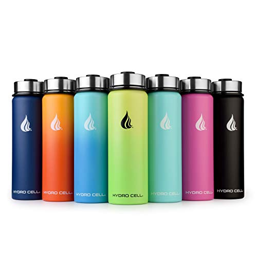 HYDRO CELL Stainless Steel Water Bottle w/Straw & Wide Mouth Lids (40oz 32oz 24oz 18oz) - Keeps Liquids Hot or Cold with Double Wall Vacuum Insulated Sweat Proof Sport Design (Neon/Neon 24 oz)