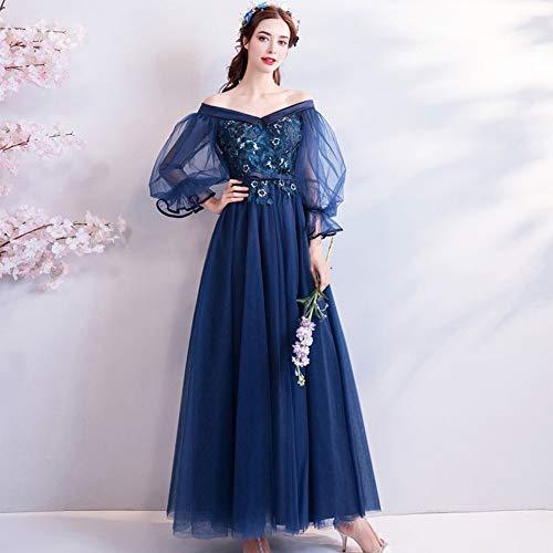 YT-ER Tiefseeblau Prinzessin Trompete Ärmel Kleid Schmetterling Ende Taille Abendessen Brautkleid V-Ausschnitt Offen Zurück Knöchellänge Stickerei Kleid, Blau, XL