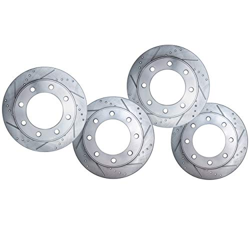 Detroit Axle - All (4) Front and Rear Drilled and Slotted Disc Brake Kit Rotors for 2006 2007 2008 Dodge Ram 1500 Mega Cab - [2003-2008 Dodge Ram 2500 or 3500]