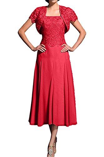 Charmant Damen Rot 2020 neu Spitze Wadenlang Brautmutterkleider Abendkleider Partykleider mit Bolero-40 Rot