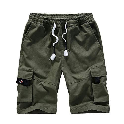 U/A los Hombres de Verano de la Moda de la Marca de Algodón de Herramientas Cortos de los Hombres de Cinco Puntos Pantalones Sueltos Grande Casual Pantalones Pantalones Pantalones Verde verde 3XL