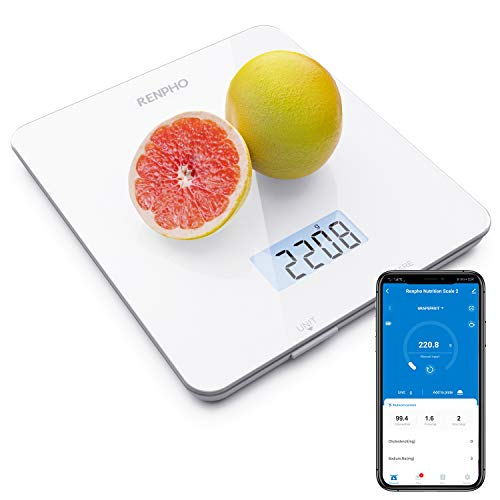 RENPHO Digital Food Scale, Kitchen Scale for Baking, Cooking and Coffee with Nutritional Calculator for Keto, Macro, Calorie and Weight Loss with Smartphone App, White