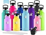 KollyKolla Gourde INOX Isotherme, Bouteille d'eau avec Paille & Filtre sans BPA, Isolation sous Vide en Acier Inoxydable à Double Paroi, pour Enfant & Adulte, Sport, Cyclisme, Gym, (750ml Bleu Ciel)