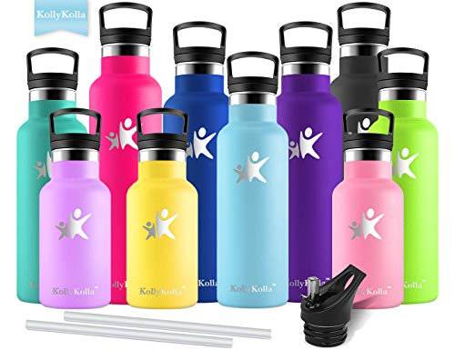 KollyKolla Vakuum-Isolierte Edelstahl Trinkflasche, 500ml BPA-frei Wasserflasche mit Filter, Thermosflasche für Kinder, Mädchen, Schule, Kindergarten, Sport, Wandern, Camping, Outdoor, Himmelblau
