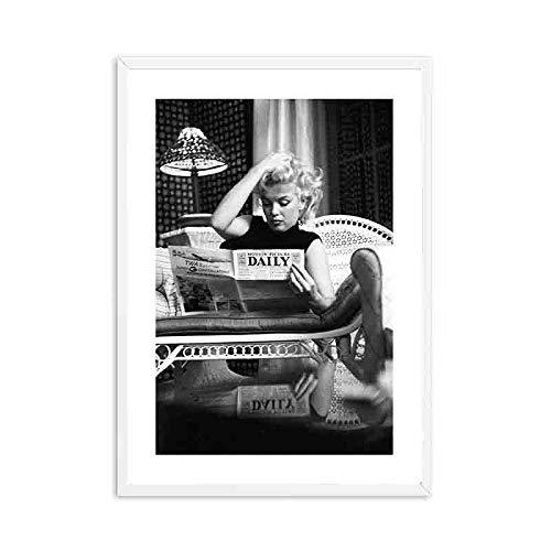 Brigitte Bardot Vintage Kamera Wandkunst Schwarz Weiß Leinwand Malerei Nordic Poster und Print Moderne Wandbilder für Wohnzimmer-Rahmenlos-60X90cm