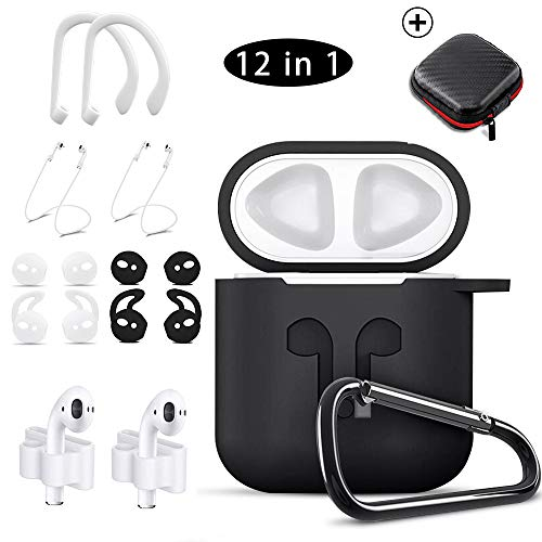 Airpods Case Black,HOOXIN Airpods Accessories Set,12 in 1 Protective Silicone Cover and Skin for Apple Airpods Charging Case with Airpods Ear Hook Grips/Airpods Staps/Airpods Clips/Skin/Tips/Grips