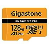 Gigastone Carte Mémoire Micro SD XC 128 Go, U3 A1 V30 + Adaptateur SD. Vitesse de Lecture allant jusqu'à 100 Mo/s. Compatible avec Nintendo Dashcam GoPro Caméra Samsung Canon Nikon DJI Drone.