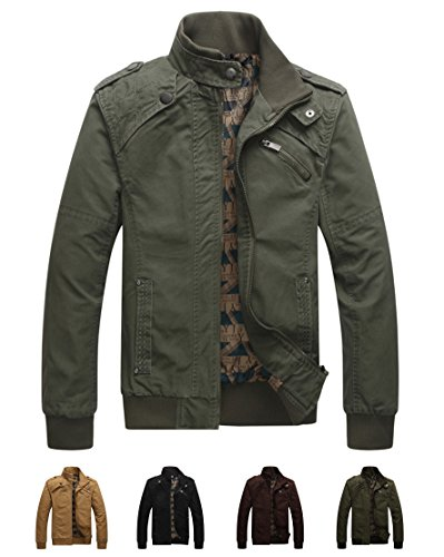 Earth Window Men's Casual Long Sleeve Full Zip Jacket with Shoulder Straps (Medium,Army Green)