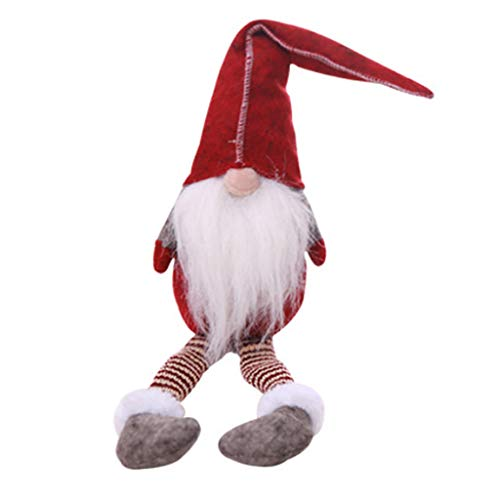 KUKALE Decoration Christmas Faceless Long Legs Santa Claus Sitting Doll with Stripes Hat Party Kids Toy Home Ornament Craft Gifts