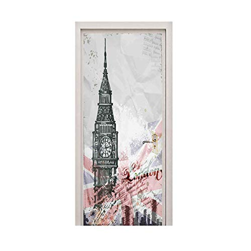 Door Wall Sticker Door Sticker Self-Adhesive Waterproof Removable Clock Tower Mural Home Decoration