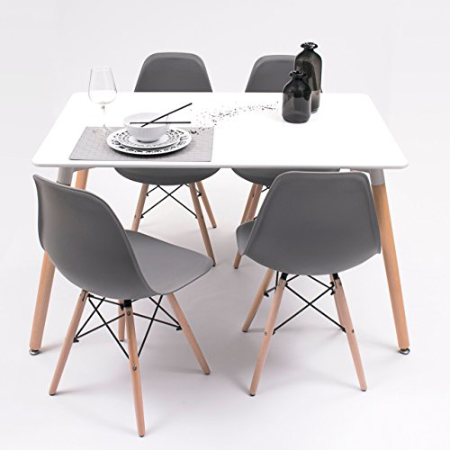 Conjunto de Comedor Tower con Mesa lacada Blanca y 4 sillas, de diseño nórdico (120x80, Gris Oscur