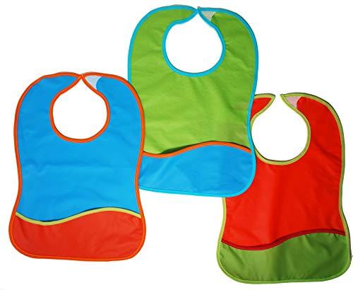 TI TIN Pack de 3 Baberos Impermeables para Bebé 100% Poliuretano | Baberos Transpirables Con Cierre con Cinta de Autocierre para Bebés de Más de 1 Año