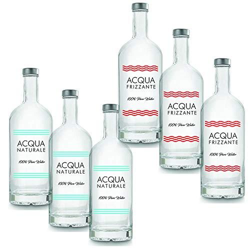 BrandPrint, Set di 6 Bottiglie 3 Naturali e 3 Frizzanti in Vetro Modello Ribolla 1000 ml con Tappo a Vite in Alluminio.