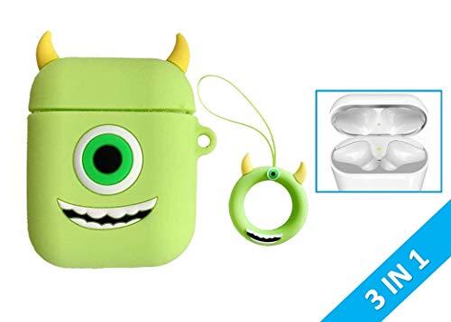 Funda de silicona KWERKY Disney Mike Wazowski Apple AirPod 1 y 2 + protectores de polvo de cromo GRATIS, incluido el anillo de retención a juego Monsters Inc Novedad de película verde