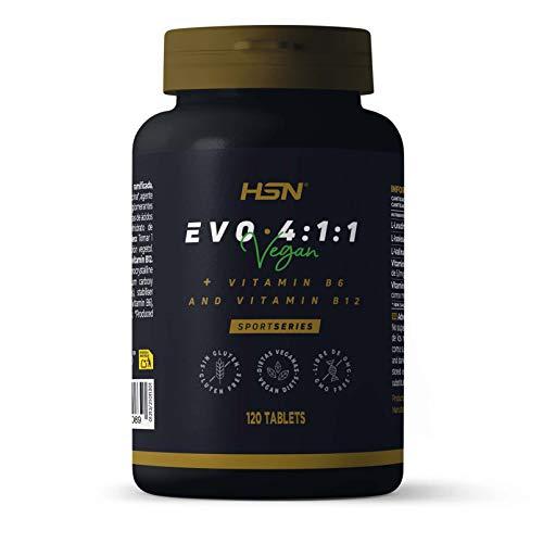 BCAA Evo 4:1:1 de HSN   Aminoácidos Ramificados con Ratio 4:1:1 (Leucina, Valina, Isoleucina) + Vitamina B6 y B12   Vegano, Sin Gluten, Sin Lactosa, 120 tabletas