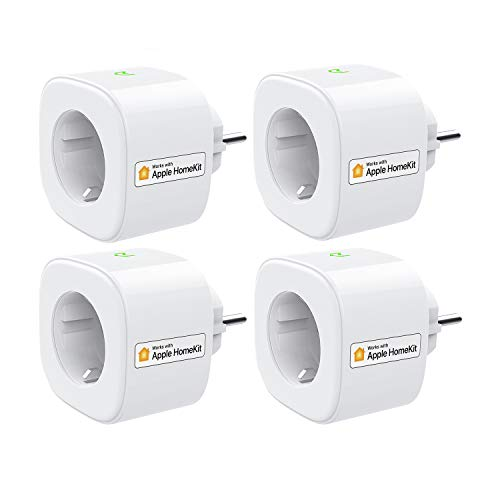 Smart Steckdose funktioniert mit Apple HomeKit, meross WLAN Plug, Inteilligent Stecker, kompatibel mit Siri, Alexa, Google Assistant und Samsung SmartThings, kein Hub erforderlich, 16 A, 2,4 GHz, 4pcs