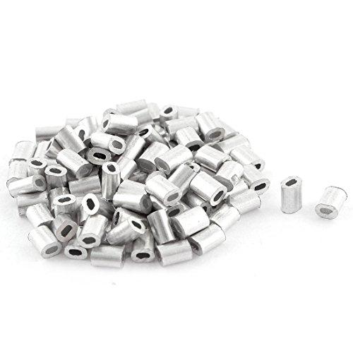 sourcingmap® Oval Aluminum Ärmel Klemmen für 0.5mm Drahtseil Gesenkgeschmiedetes Klemme 100 stück