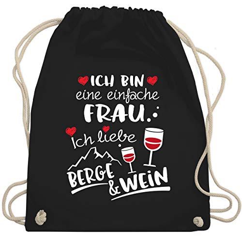 Après Ski - Einfache Frau - Berge & Wein - weiß - Unisize - Schwarz - Spruch - WM110 - Turnbeutel und Stoffbeutel aus Baumwolle