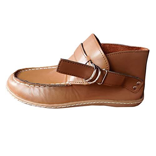 Stiefeletten Damen Ankle-Boots Wildleder Flache Vintage Stiefel mit Fransen und Schnalle, Frauen Kurzstiefel Elegante Schuhe Mode Bequem Damenschuhe Celucke (Braun, 38 EU)
