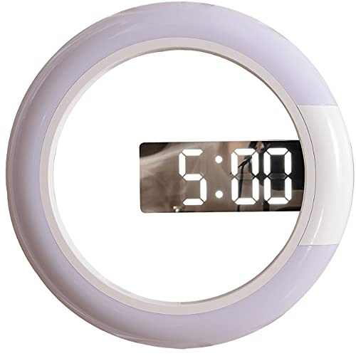 GODNECE Reloj electrónico Luminoso LED, Puerto de Cargador USB de 12 Pulgadas con 7 Luces de Colores, Reloj de Pared de Sala de Estar, Reloj Despertador y Reloj de Pared Reloj de Pared de Metal